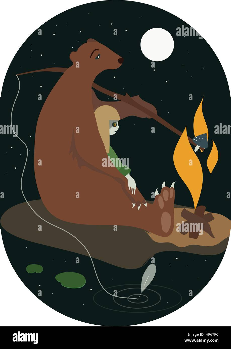 The bear and the girl with campfire flat vector illustration - Stock Vector