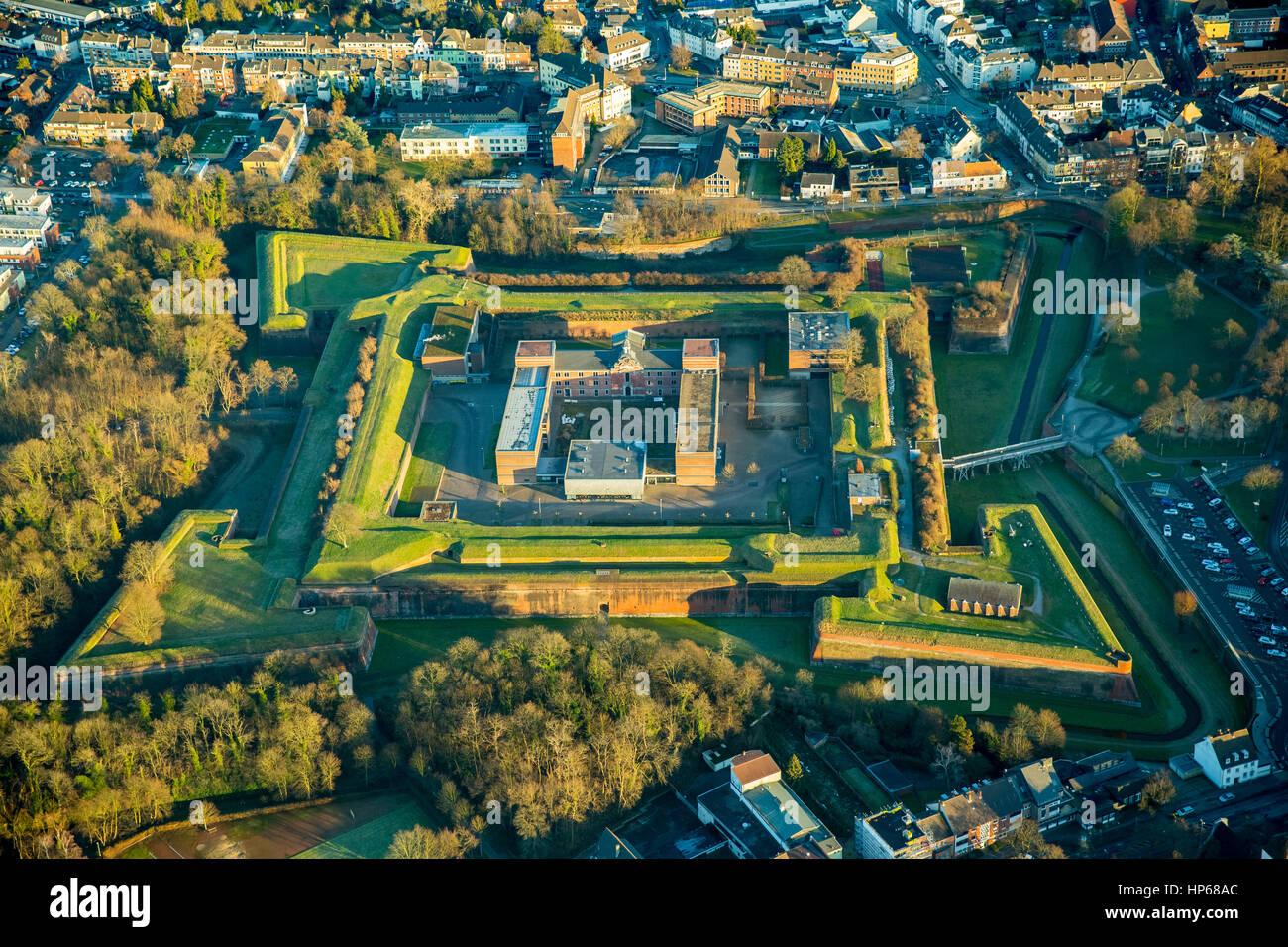 Renaissance castle, inside, the mighty citadel Jülich, medieval defenses, Jülich, Rhineland, North Rhine - Stock Image