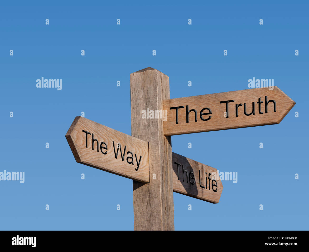 The way and the truth and the life. No one comes to the Father except through me.Sign post, sign, post, way, route, - Stock Image