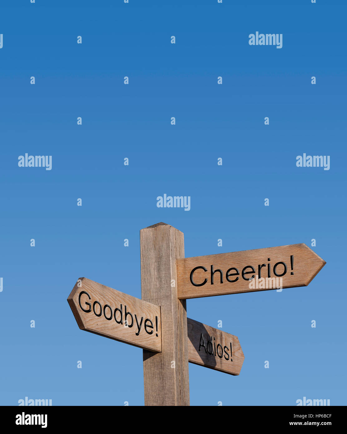 Ways to say goodbye. Goodbye, cheerio, adois.Sign post, sign, post, way, route, concept, direction - Stock Image