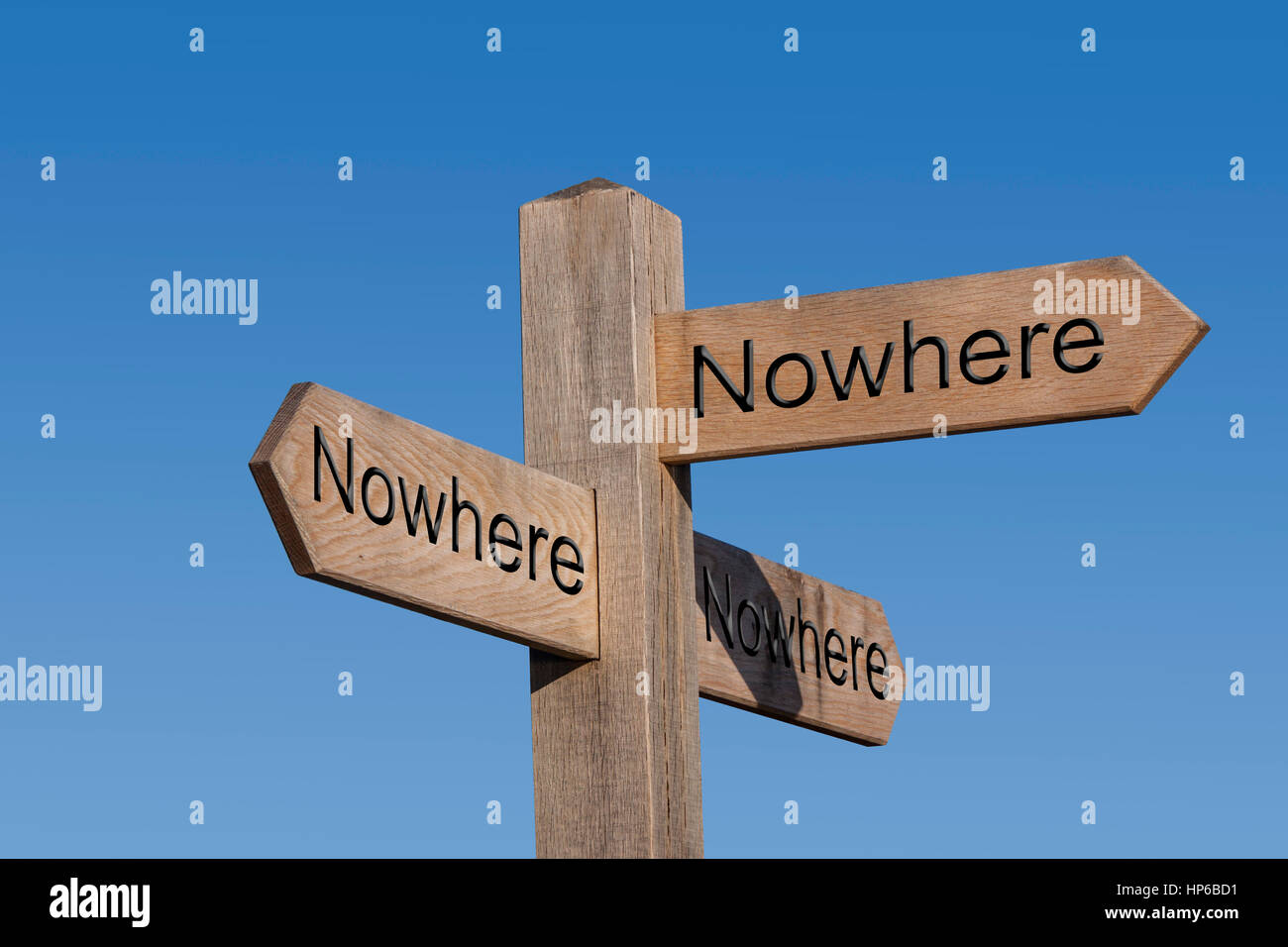 The road to nowhere. Nowhere to go.Sign post, sign, post, way, route, concept, no place to go. Stock Photo