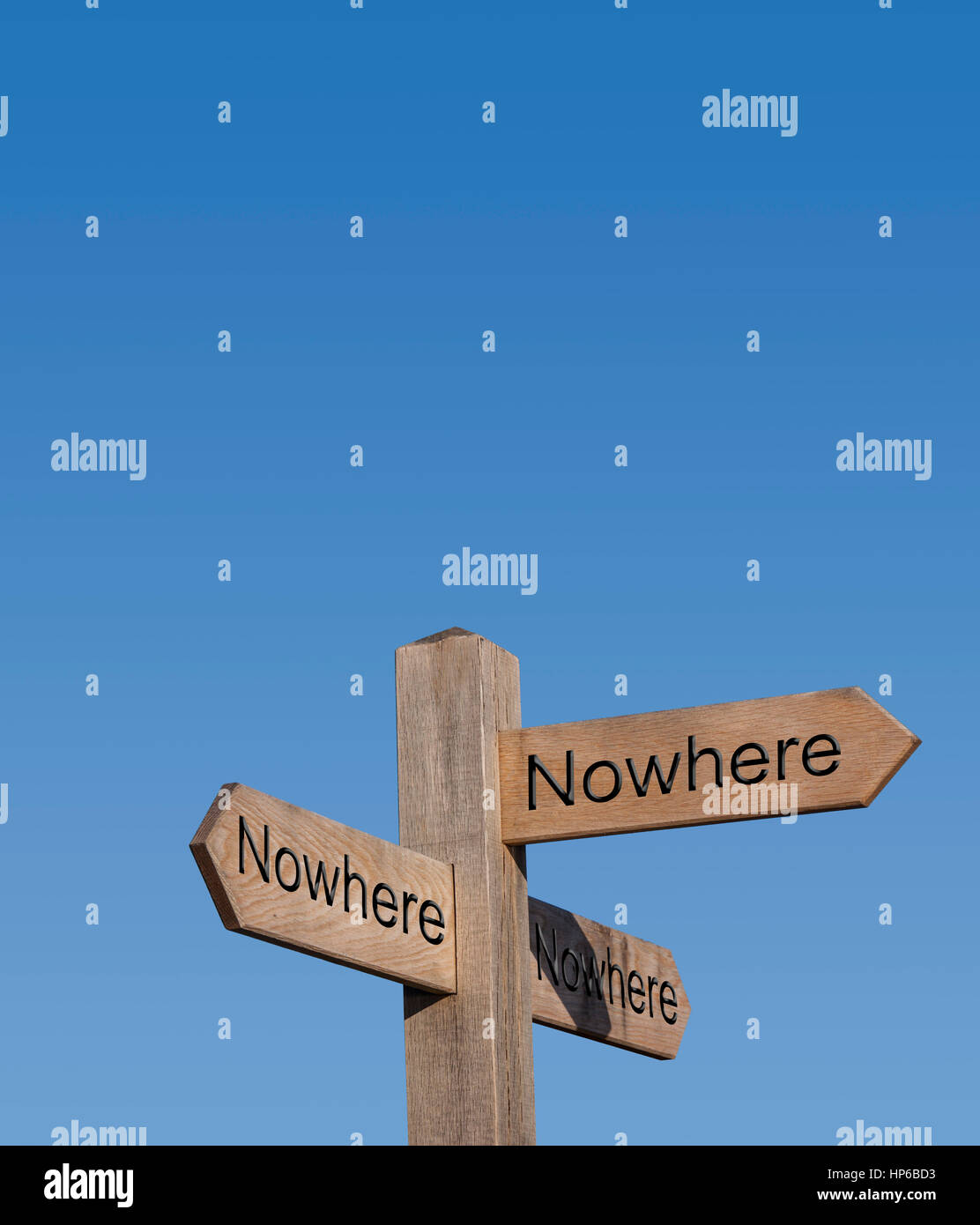 The road to nowhere. Nowhere to go.Sign post, sign, post, way, route, concept, no place to go. - Stock Image