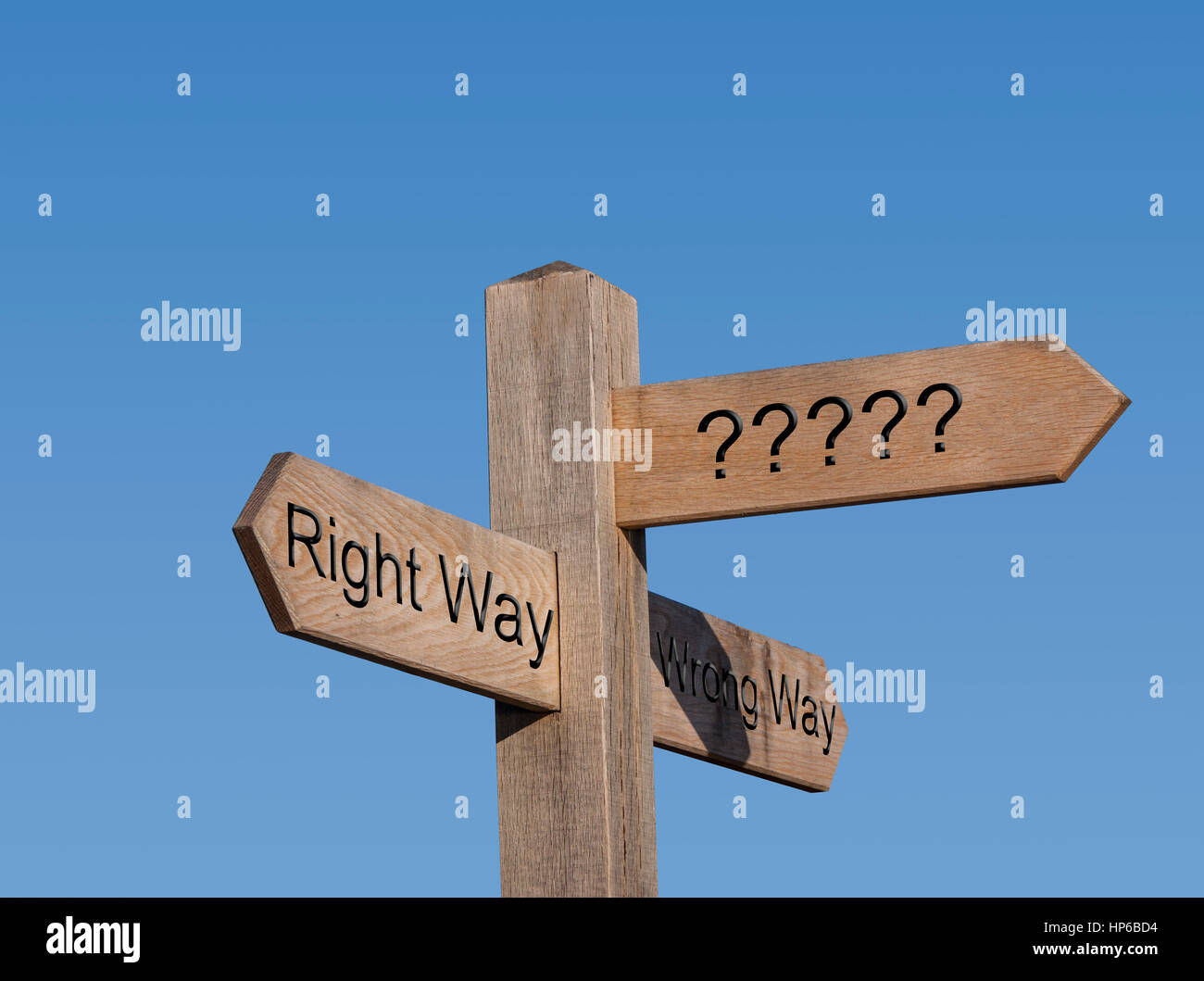 The right way and the wrong way. Sign post, sign, post, way, route, concept, Right and wrong. - Stock Image