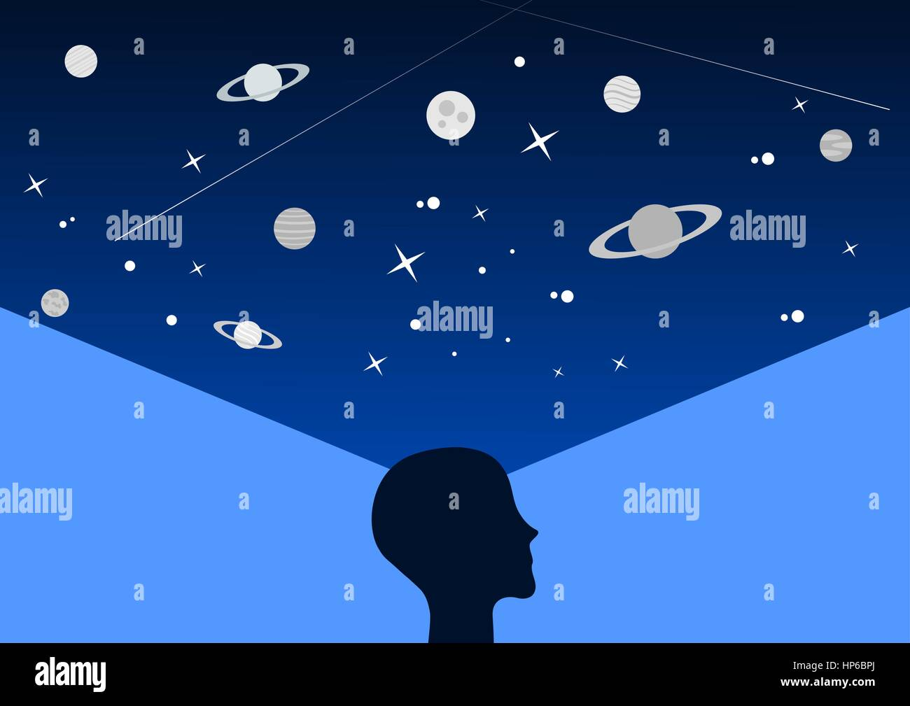 The universe is in you (concept of thinking with the profile of a man on the blue space background) - Stock Vector