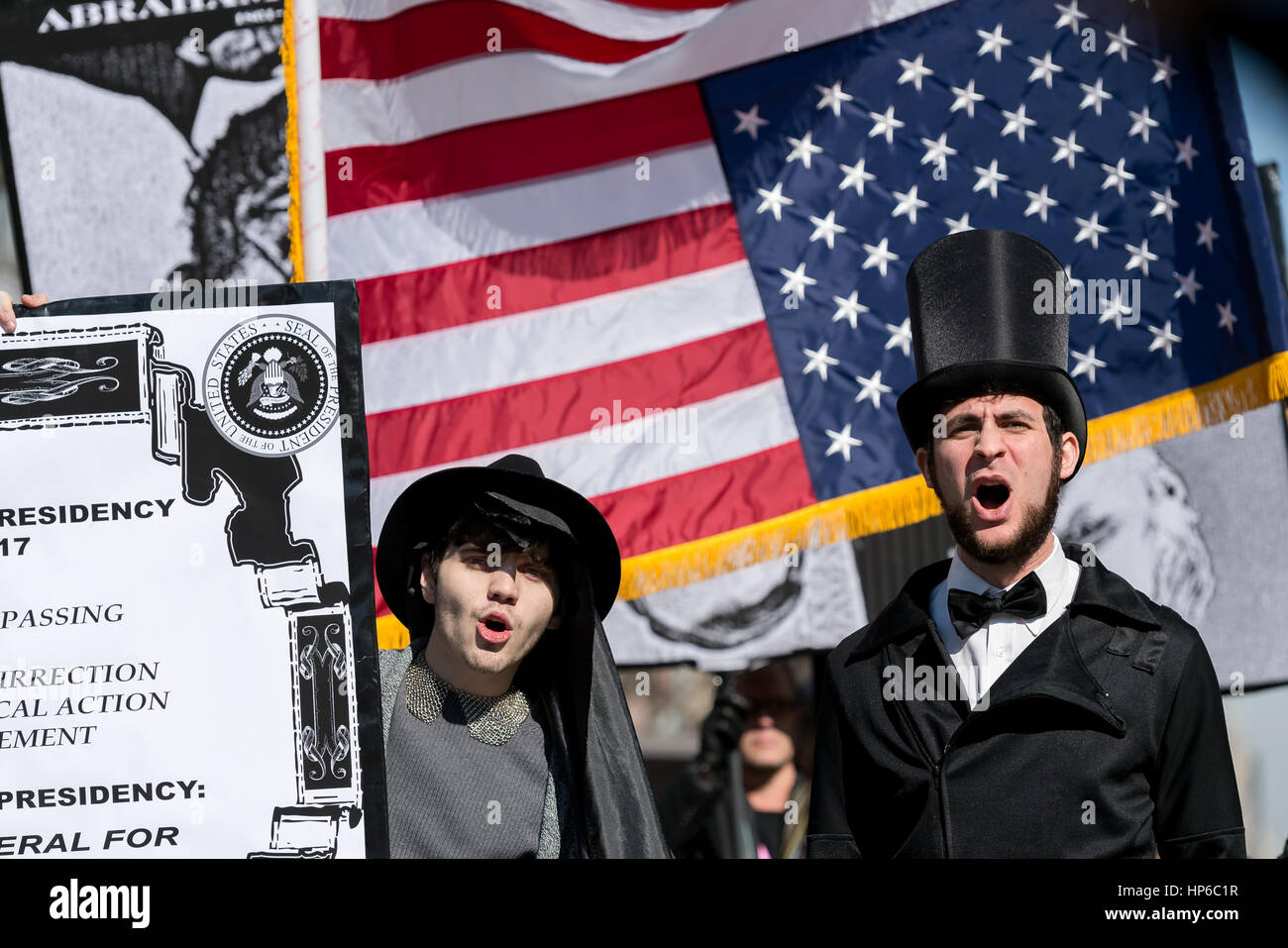 New York, United States. 18th Feb, 2017. In conjunction with U.S. Presidents' Day Weekend, a coalition of activists - Stock Image