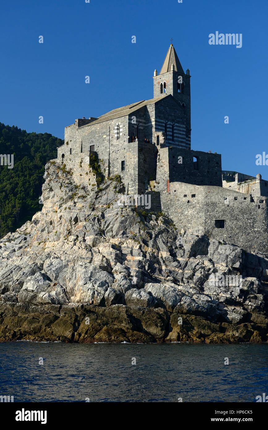 Church of St Peter, Roman Catholic church, Lazzaro Spallanzani, Portovenere, Gulf of Poets, La Spezia, Italy, RM Stock Photo