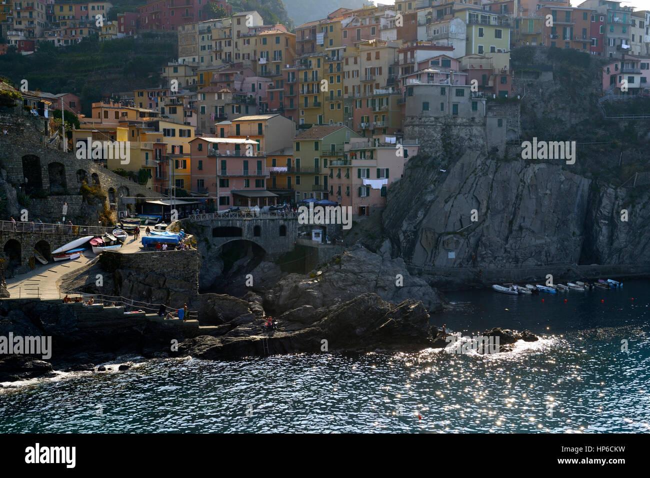 Manarolo, Cinque Terre, Coast, Coastline, Village, Villages, cliff, cliffs, clifftop, colourful, colorful, houses, Stock Photo