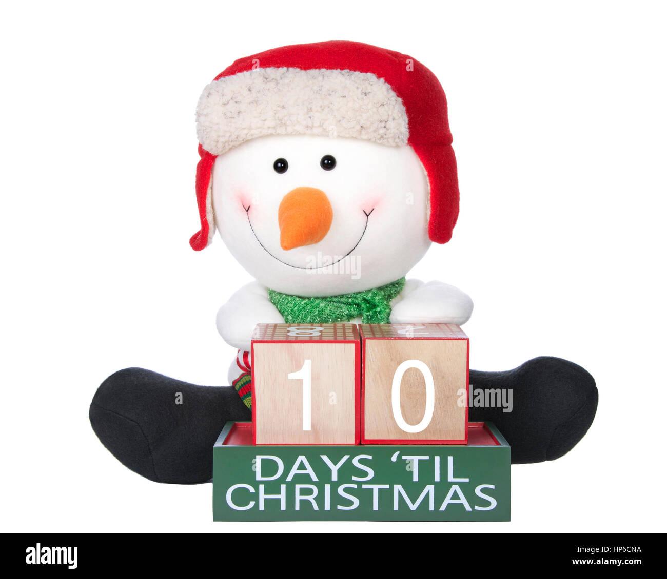 Until Christmas 10 Weeks Till Christmas.10 Days Until Christmas Light Beech Wood Blocks With Snowman