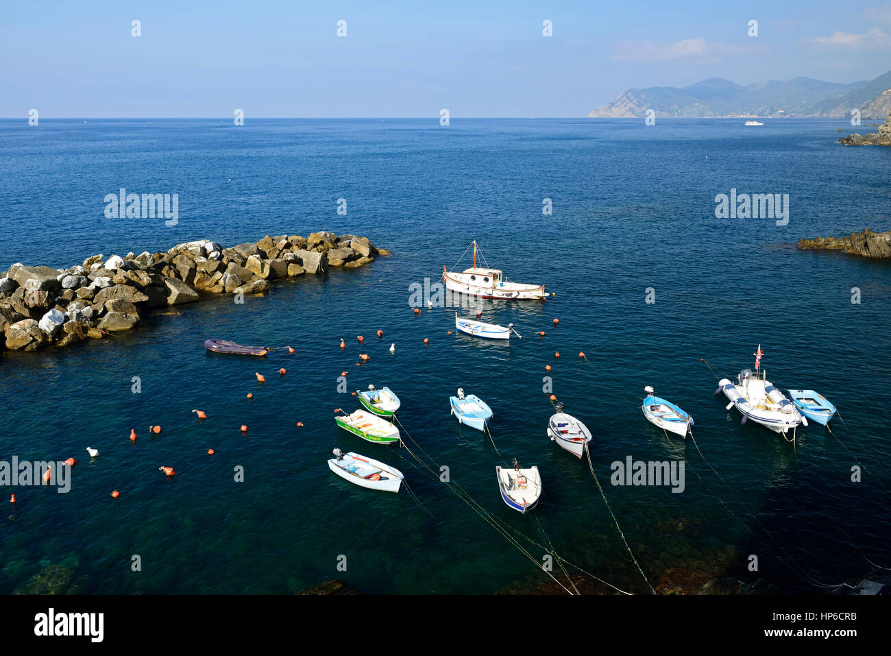 fishing boats, moor, moored, anchored, tied up, Riomaggiore, Cinque Terre, Coast, Coastline, UNESCO World Heritage Stock Photo