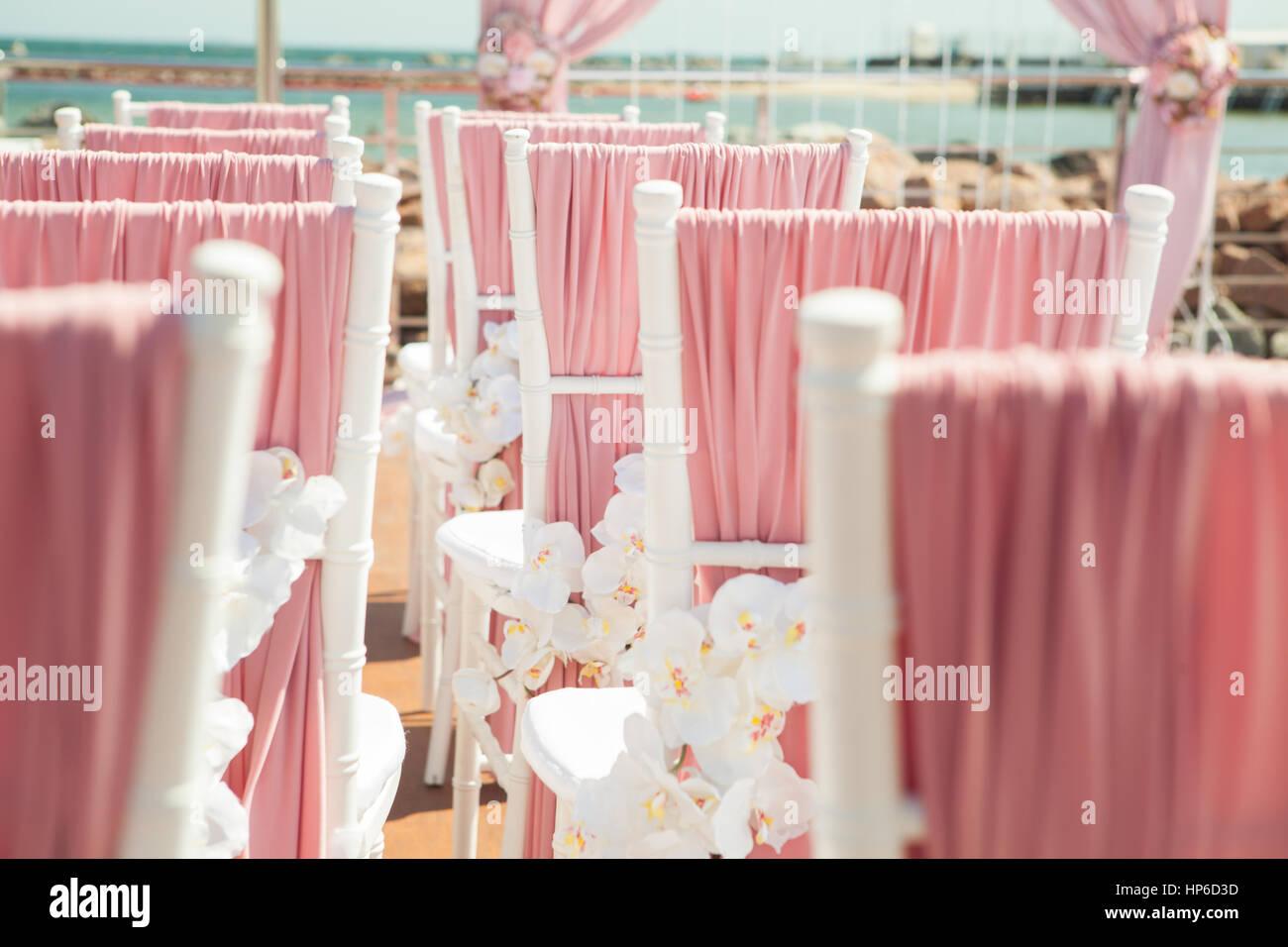 Pink wedding outdoor decoration near the sea Stock Photo: 134137009 ...