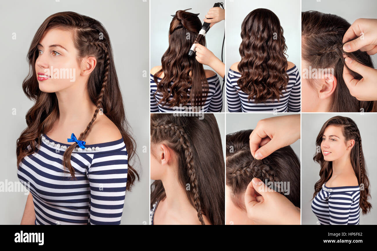 One Side Hairstyle On Curly Hair Tutorial. Hairstyle For Long Hair. Sea  Style.