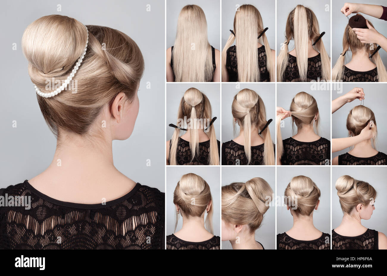 Hairstyle tutorial  elegant bun with chignon and string of pearls. Woman blonde with retro hairdo bun - Stock Image