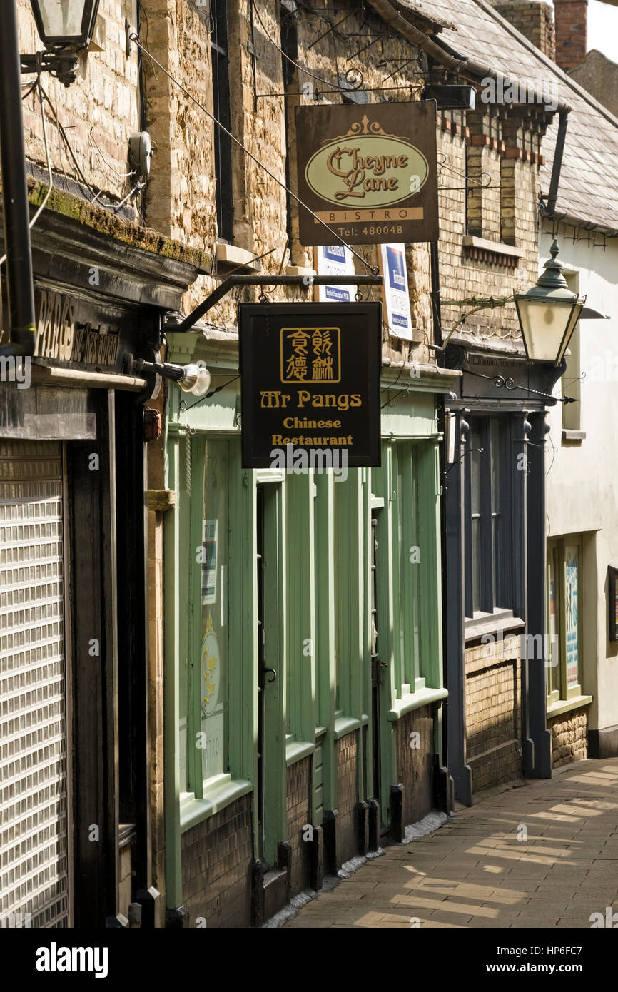 Old restaurants and shopfronts, Cheyne Lane, Stamford, Lincolnshire, England, UK - Stock Image