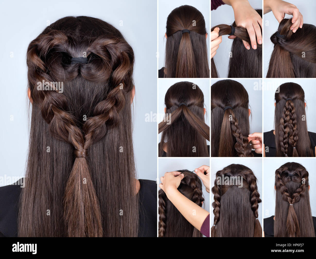 simple braid hairstyle heart tutorial. Hairstyle for long ...