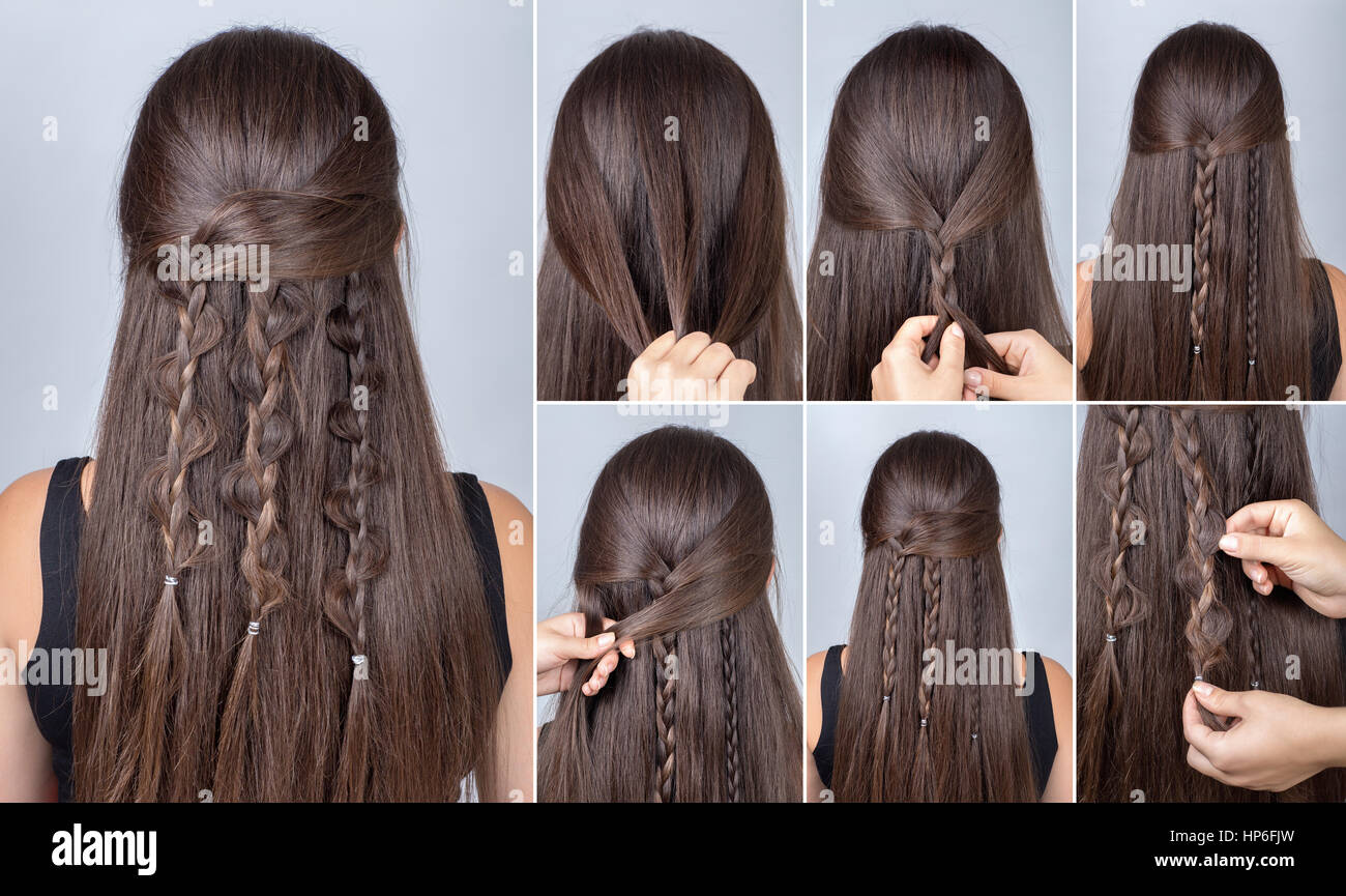 Process Of Weaving Braid Hairstyle For Long Hair Boho Style Stock