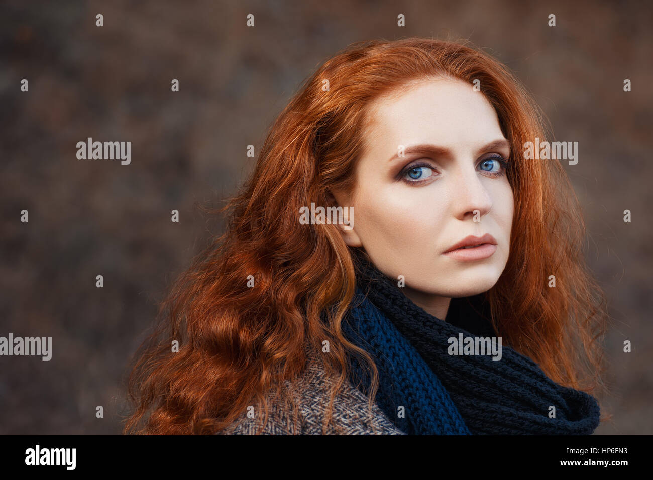 Close Up Portrait Of Beautiful Woman With Red Hair And Blue Eyes Stock Photo Alamy