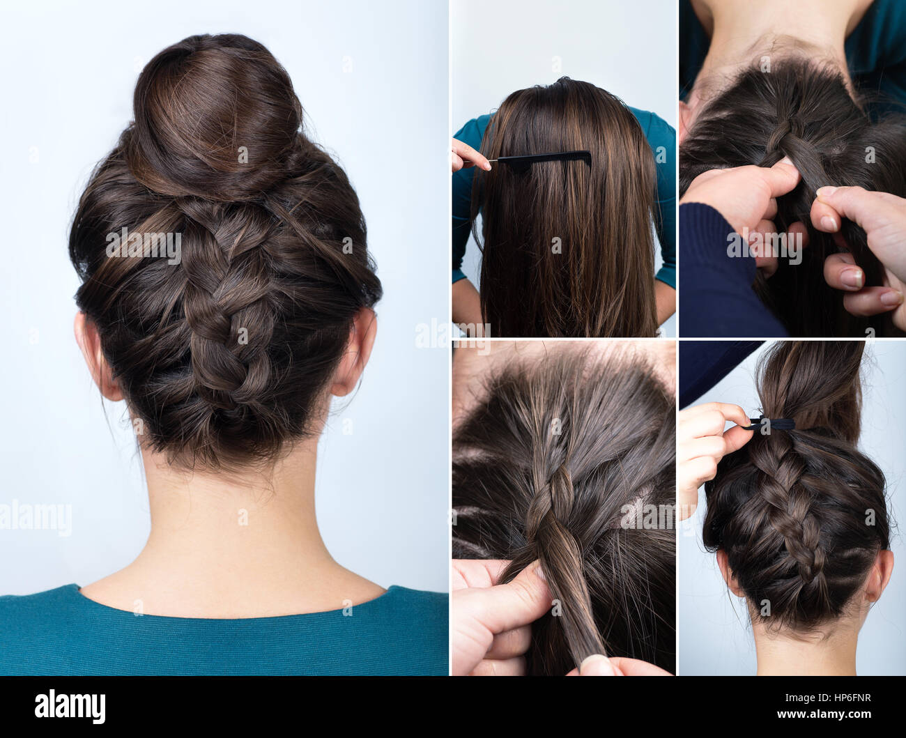 Modern Hairstyle Reverse Braided Bun. Hairstyle Tutorial For Long Hair.  Hairstyle. Tutorial. Upside Down French Braid With Bun. Braided Bun