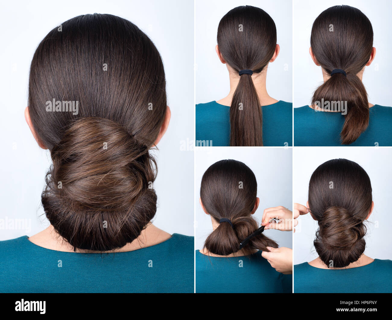 Hairstyle tutorial elegant twisted bun. Hairstyle easy chignon tutorial. Hairstyle tutorial for long hair. Hairstyle - Stock Image