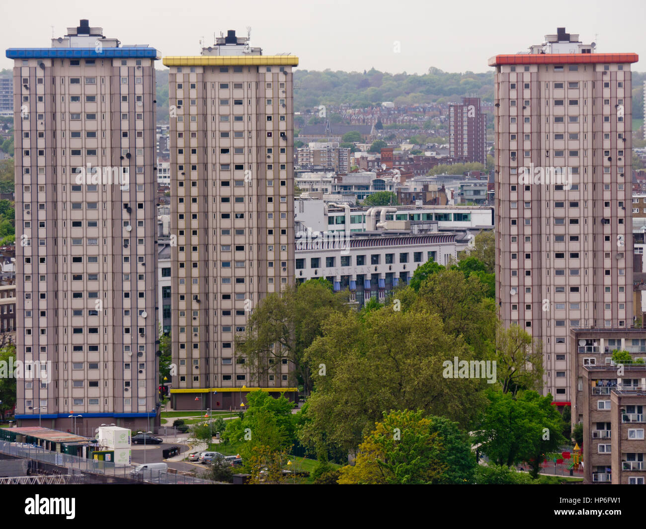 Ampthill housing estate near Mornington Crescent in London identified by the distinctive colour coded tower blocks Stock Photo