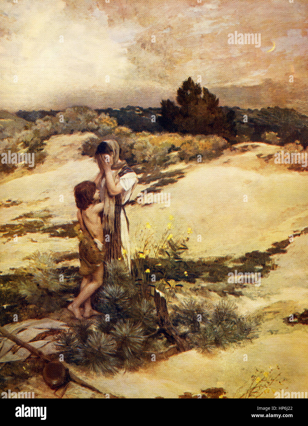 This painting, titled Ishmael, is by the English artist Jean Charles Gazin ( 1840-1901). The subject is dramatic: - Stock Image
