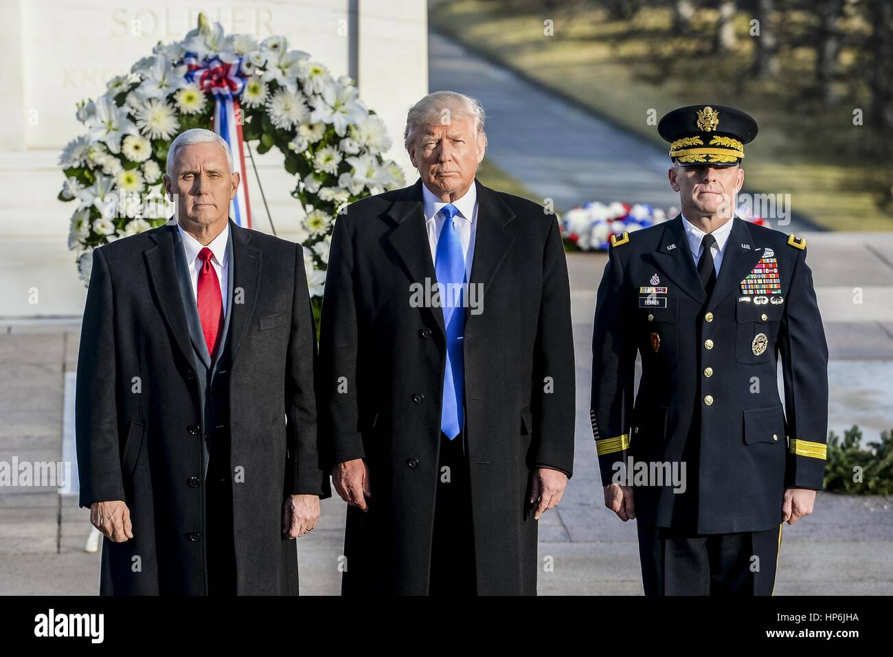 U.S. President-elect Donald Trump, Vice President-elect Mike Pence, and U.S. Army Commanding General Bradley Becker - Stock Image
