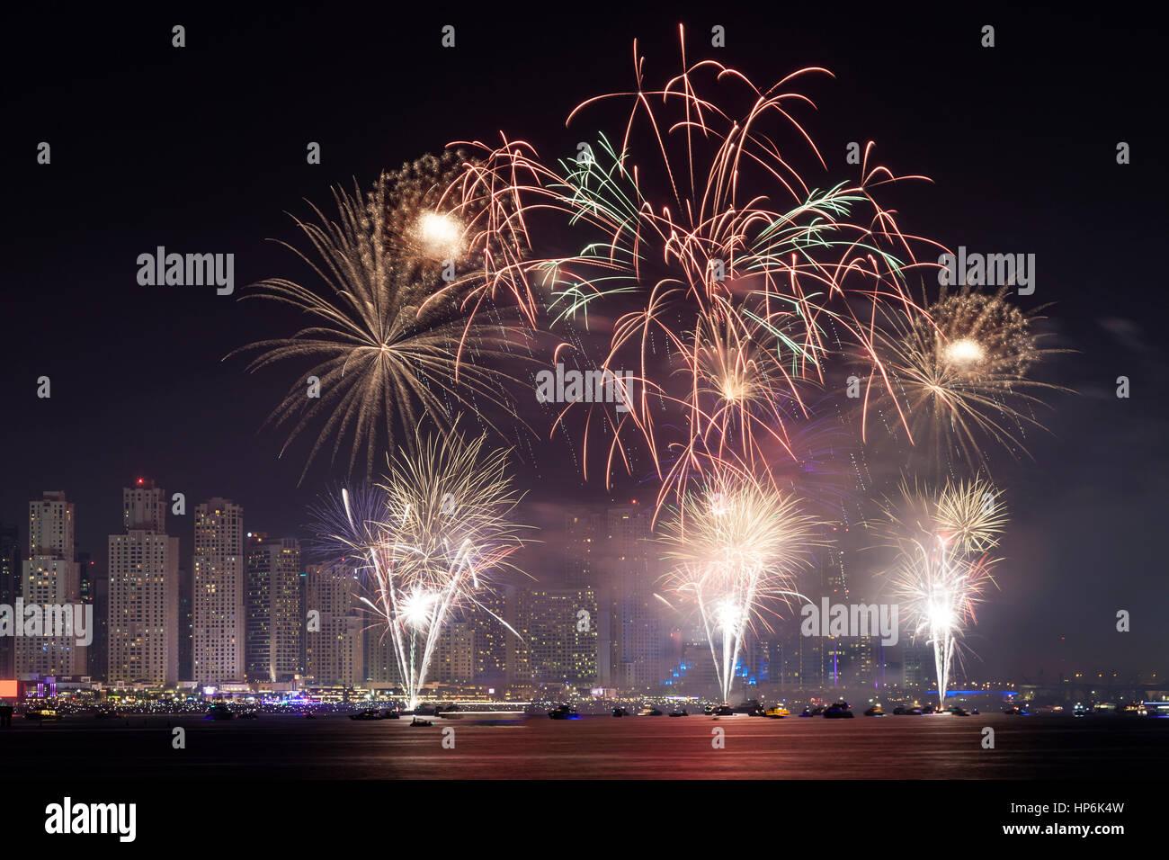 The 45th UAE National Day celebration fireworks in Dubai Marina. United Arab Emirates, Middle East Stock Photo