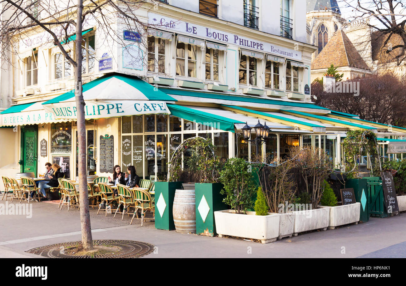 Paris, France-February 15,2017: The cafe Louis Philippe situated in a busy but quaint southern corner of the Marais, - Stock Image