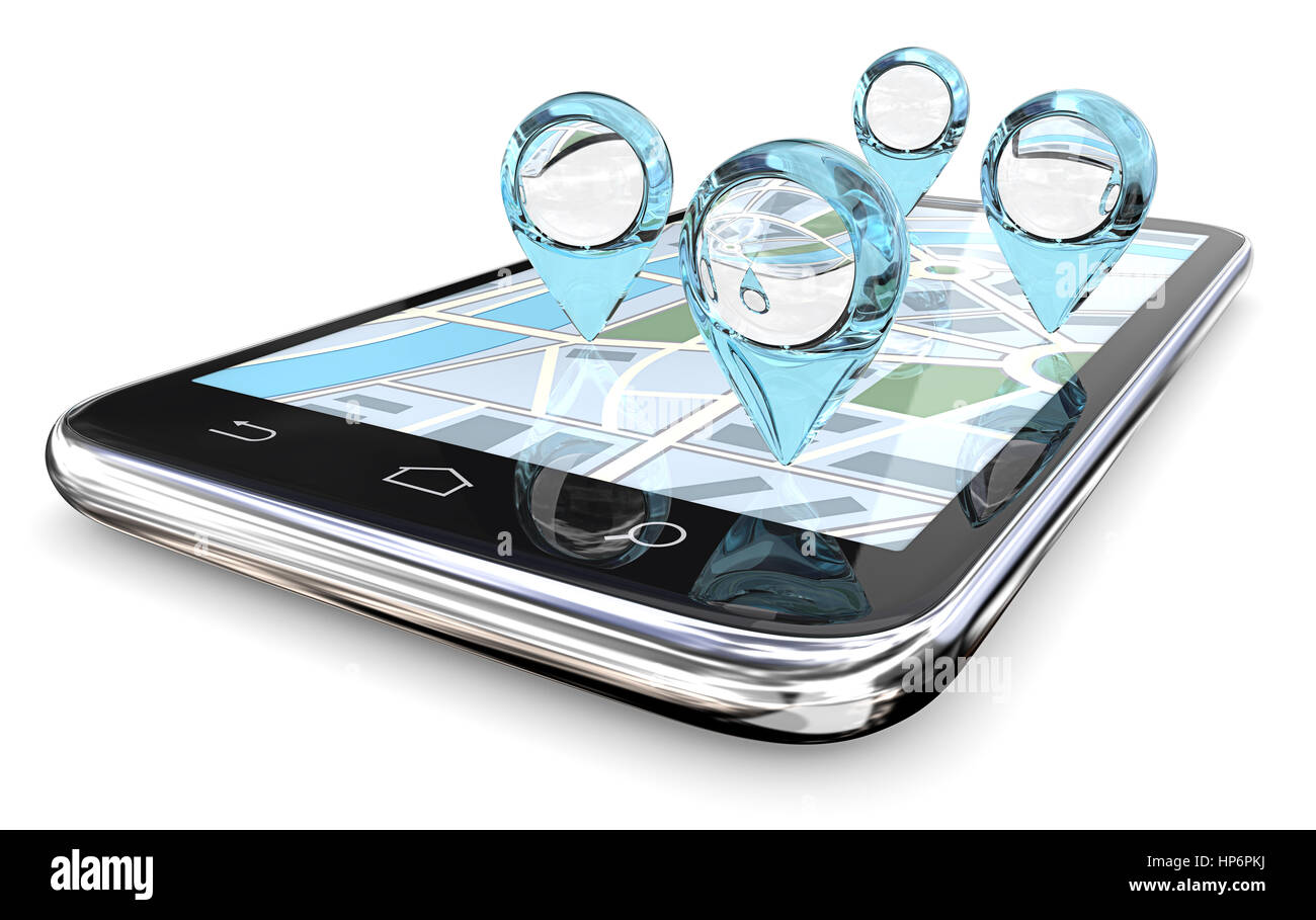 GPS pointers of abstract Blue Glass on Smartphone Screen Map. 3D render. - Stock Image