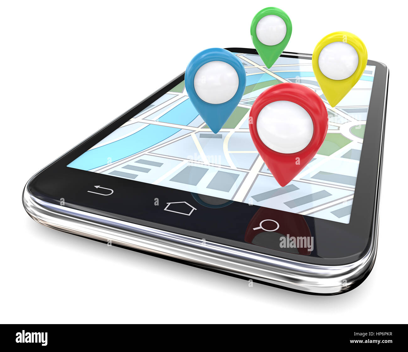 Smartphone with GPS pointers on Screen Map. Red, green, blue, yellow.  Copy Space, 3D render. - Stock Image
