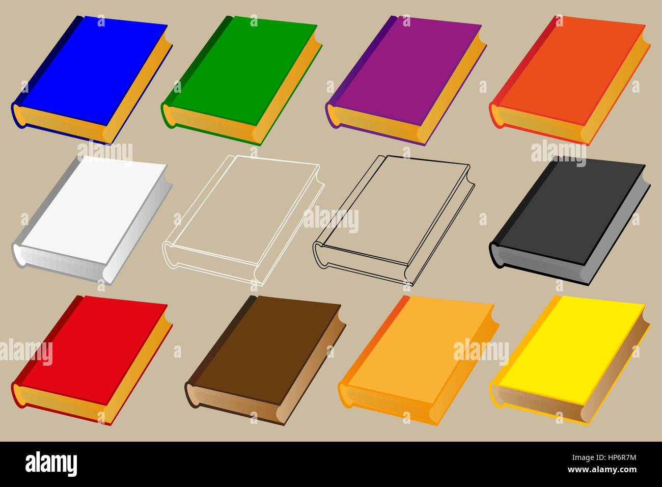 book vector illustration - set, books of different colors Stock ...