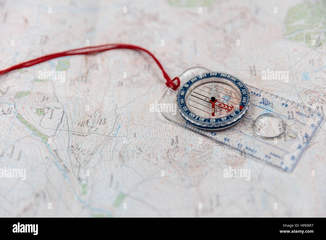 compass on a map - Stock Image