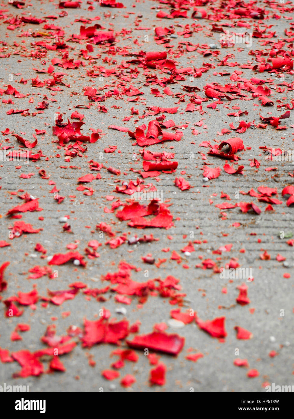 The Day After Chinese New Year, Red Paper Scraps Spread Across The Ground  Left Over From The Celebrations Of The Night Before.