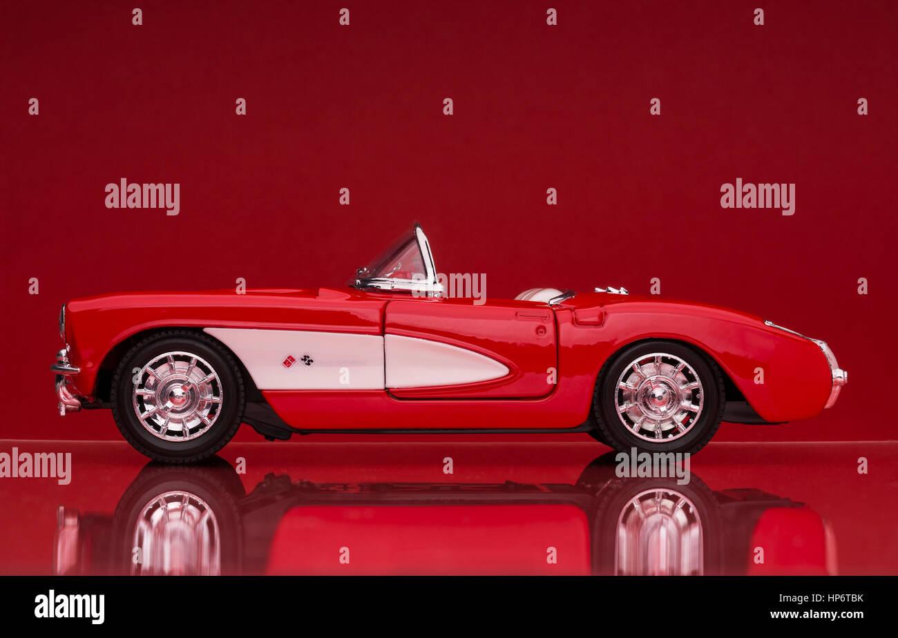 57 Chevrolet Corvette die-cast scale model car. - Stock Image