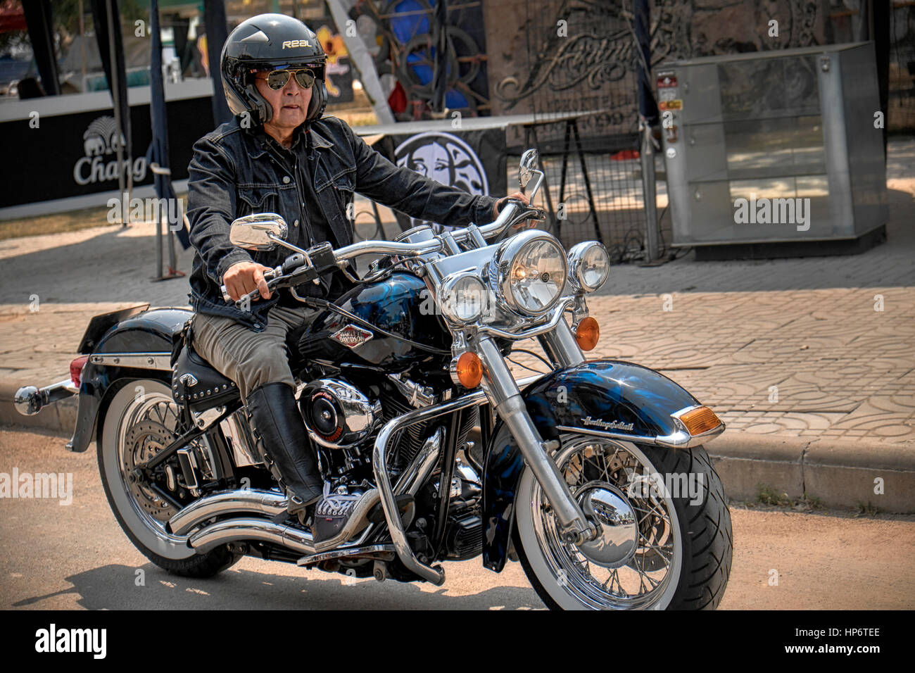 man ride harley davidson motorcycle stock photos man ride harley davidson motorcycle stock. Black Bedroom Furniture Sets. Home Design Ideas