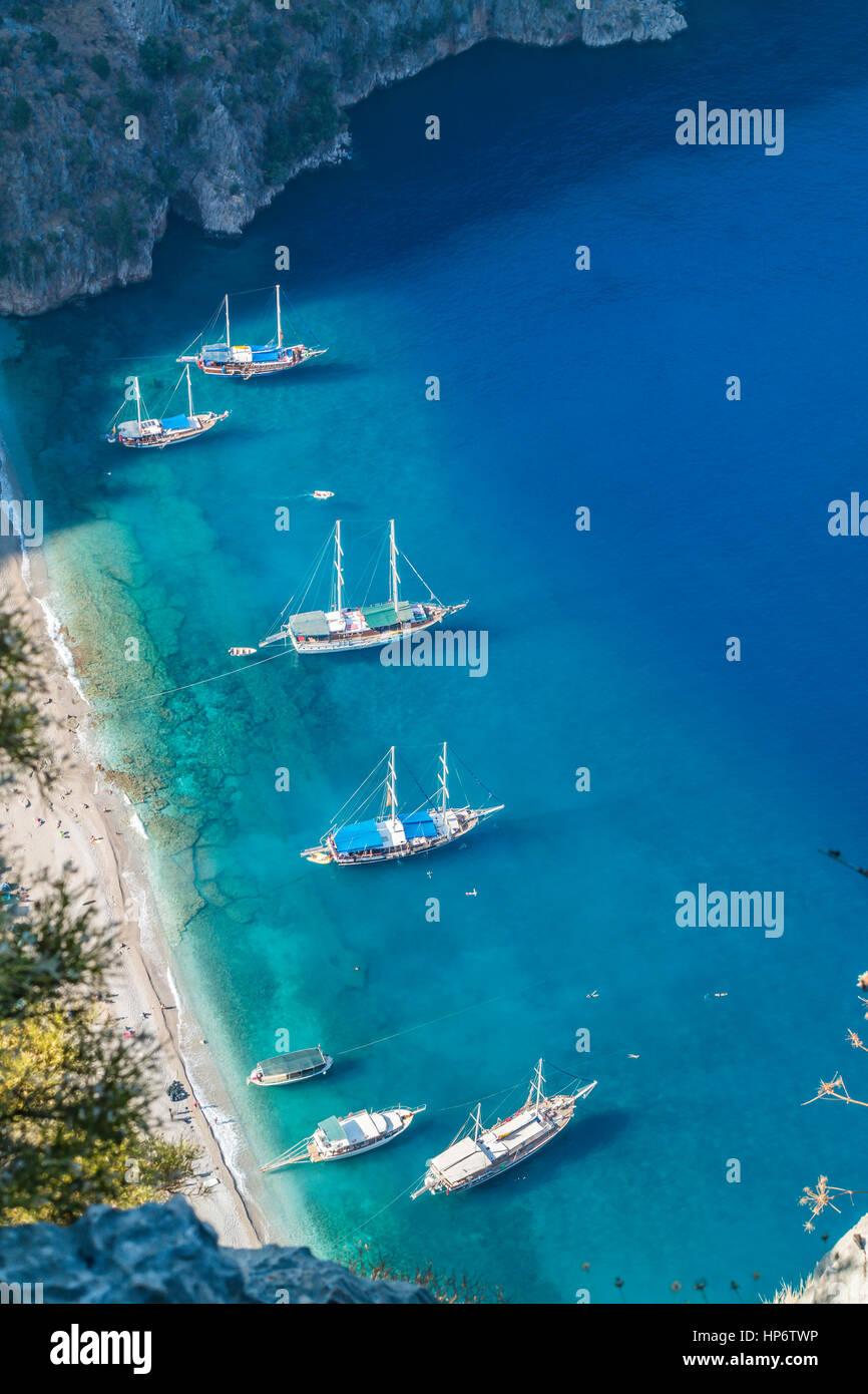 Mavi Tur Teknesi - Cruise woodeen boat Stock Photo