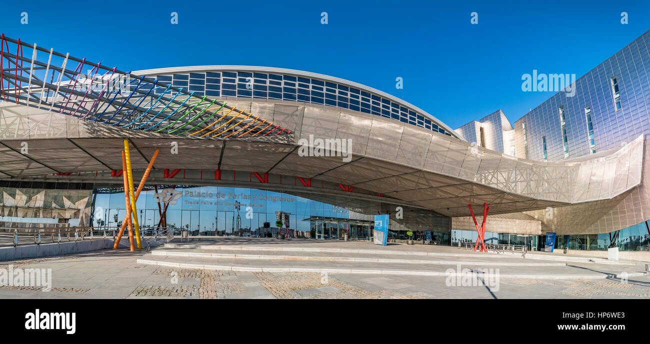 Trade Fairs and Congress Center in Malaga, Spain - The building has a total area of 60,000 m2, of which 17,000 m2 Stock Photo