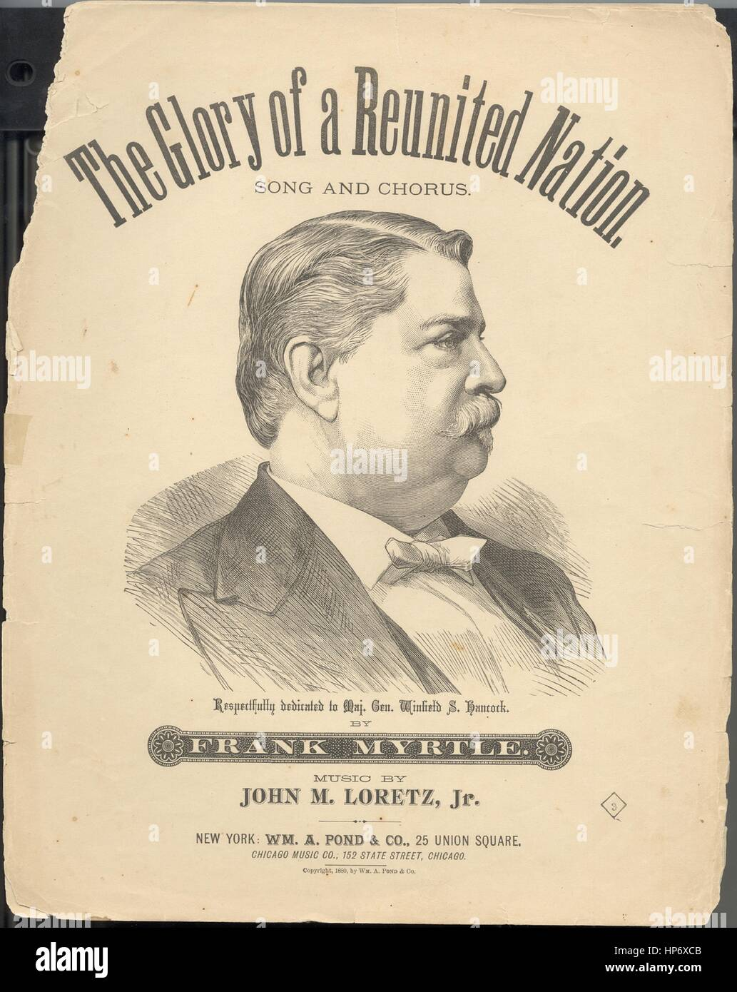 Sheet music cover image of the song 'The Glory of a Reunited Nation Song and Chorus', with original authorship - Stock Image
