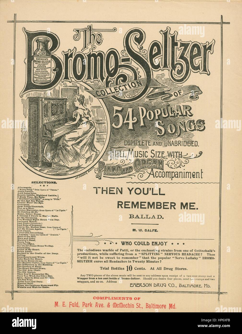 Sheet music cover image of the song 'The Bromo-Seltzer Collection of