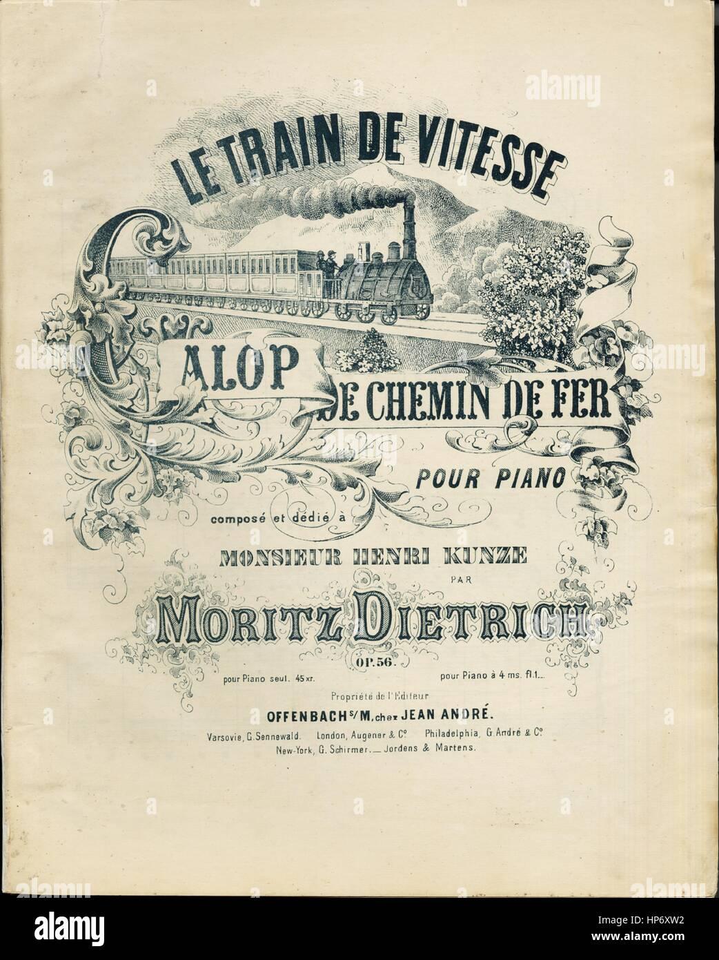Sheet music cover image of the song 'Le Train de Vitesse Galop de Chemin de Fer Pour Piano', with original - Stock Image