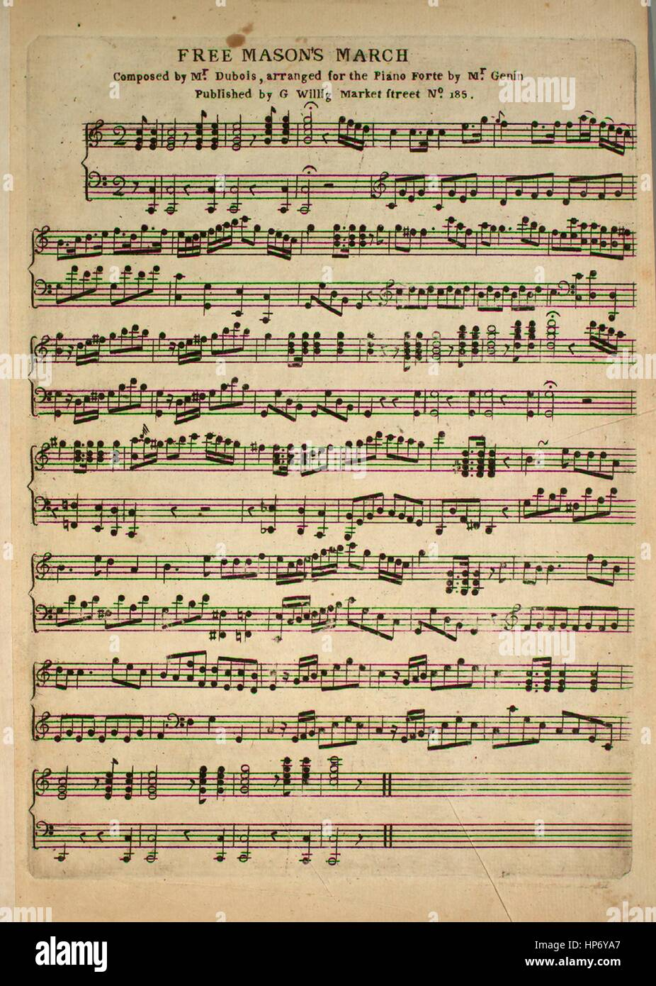 Sheet music cover image of the song 'Free Mason's March', with Stock