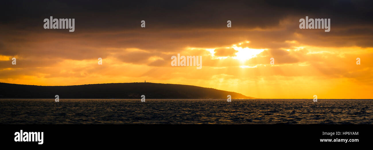 Whale watching and sunset at Cape Naturaliste and Dunsborough - Stock Image