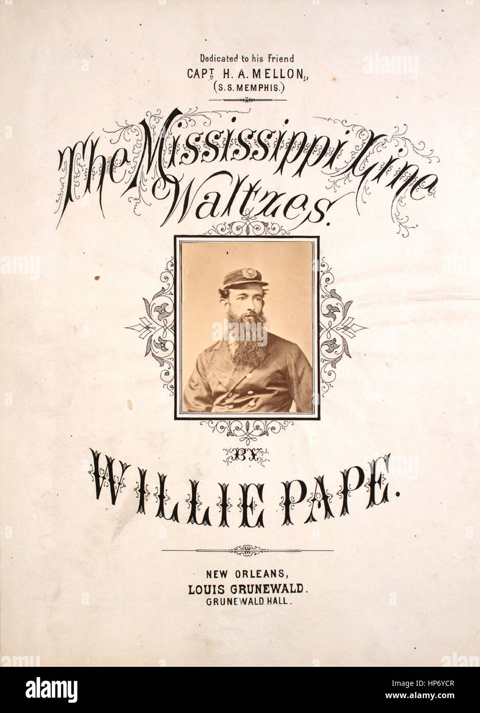 Sheet music cover image of the song 'The Mississippi Line Waltzes', with original authorship notes reading - Stock Image
