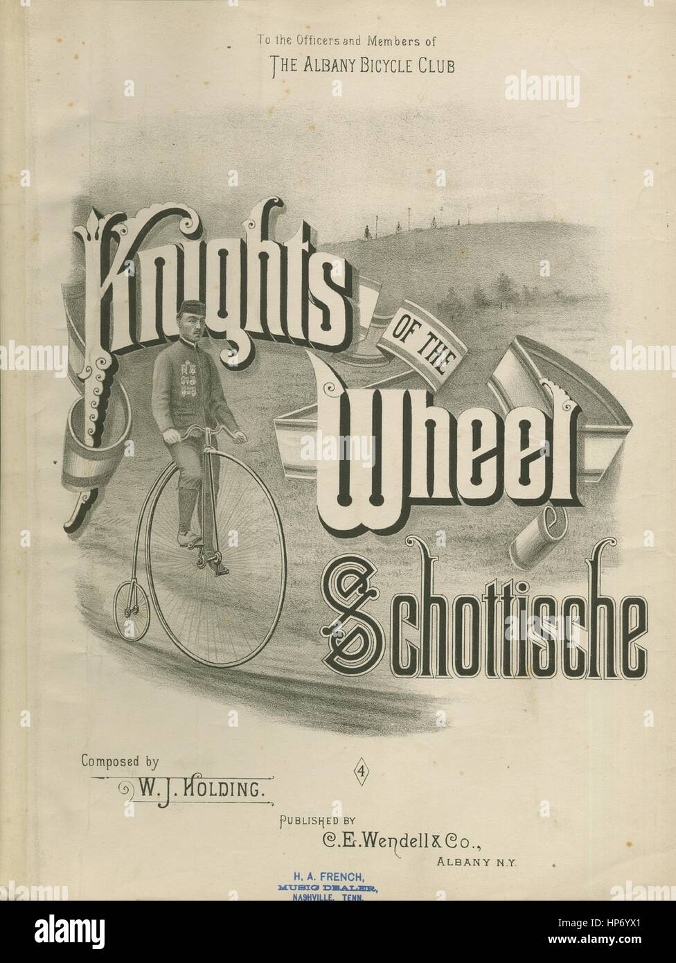 Sheet music cover image of the song 'Knights of the Wheel Schottische', with original authorship notes reading - Stock Image