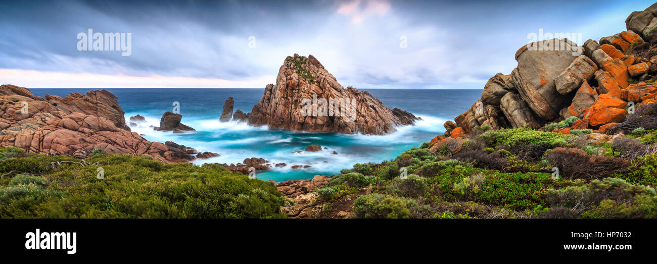 Panorama of Sugarloaf Rock, Western Australia - Stock Image