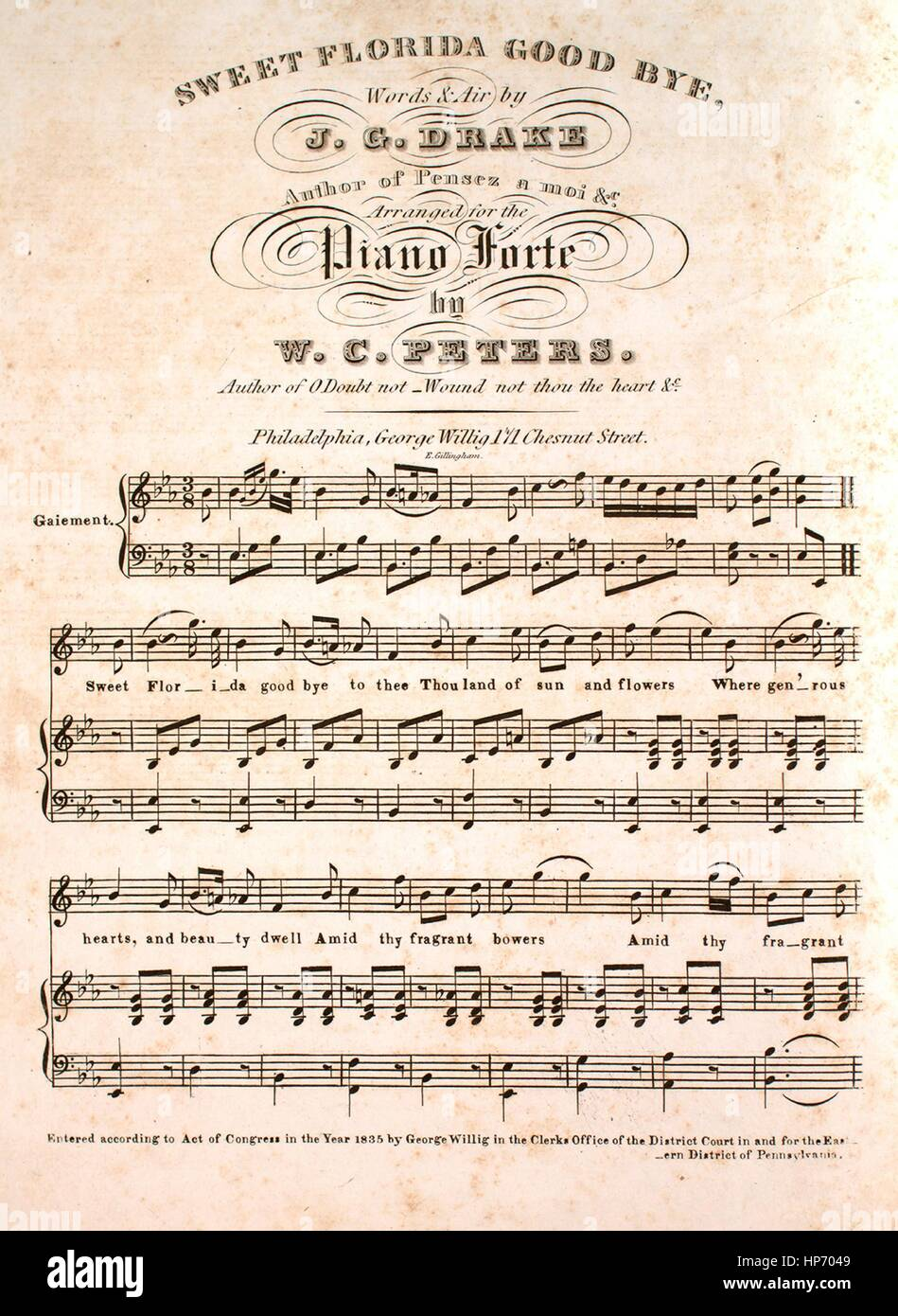 sheet music cover image of the song sweet florida good bye with original authorship notes reading words and air by jg drake arranged for the piano forte