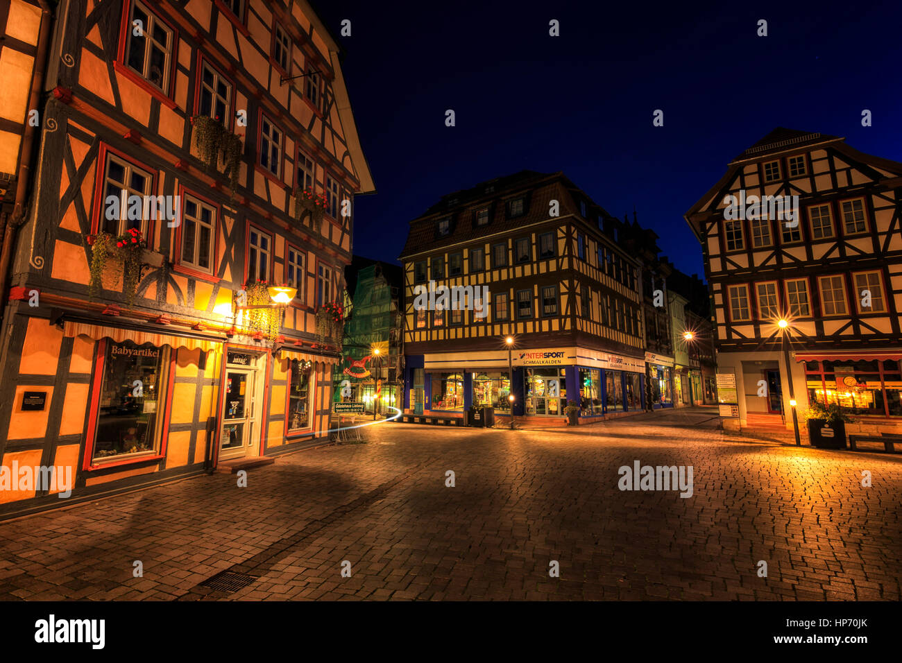 Historical City Center Of Schmalkalden, Germany - Stock Image