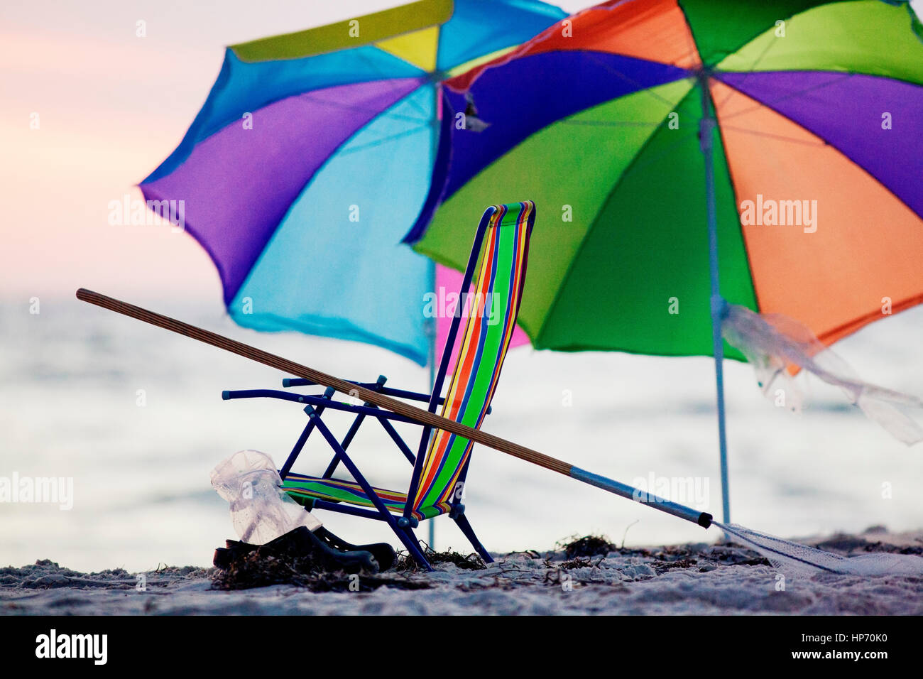 Colorful umbrellas and beach chair on Panama City Beach, Florida at ...