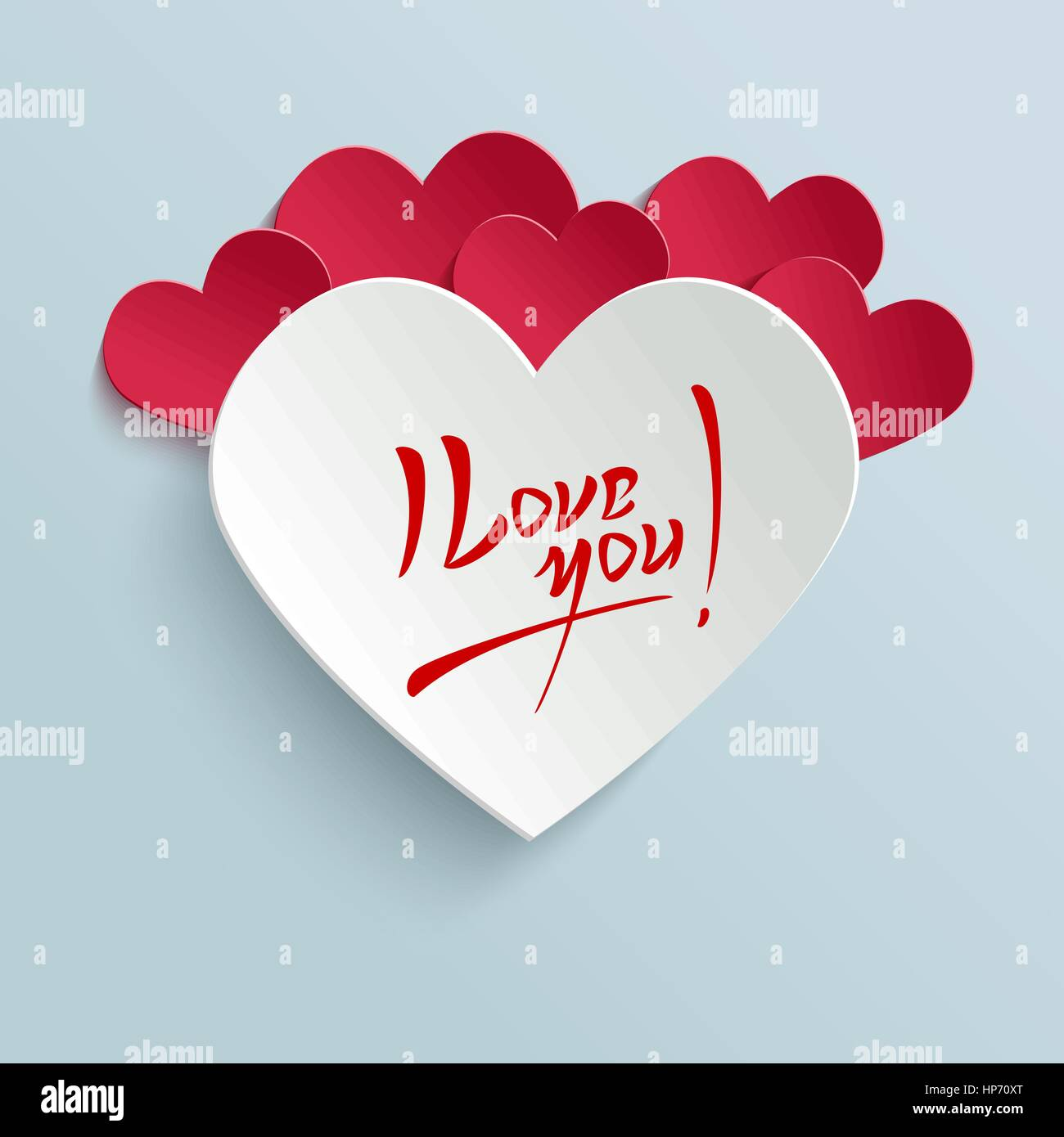 I Love You Valentines Day Hand Lettering Greeting Card On 3d Heart