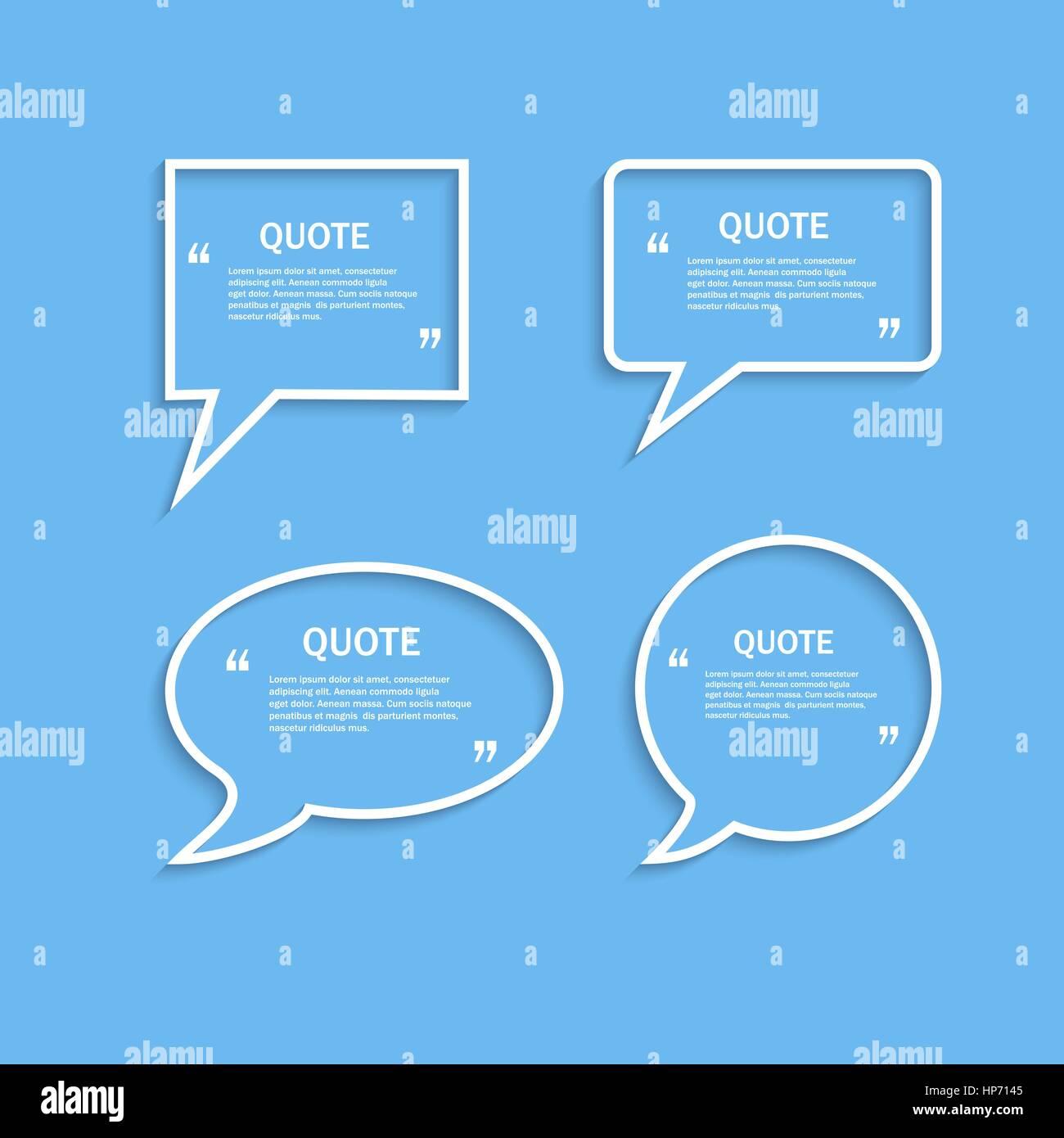 Quote Outline Speech Bubble Set Vector Template