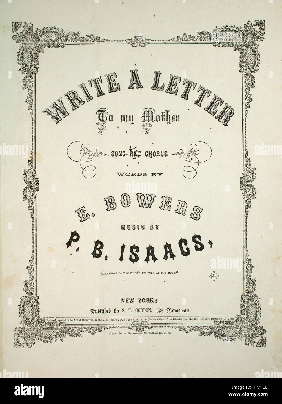 Sheet Music Cover Image Of The Song Write A Letter To My Mother Song And Chorus Companion To Brothers Fainting At The Door With Original Authorship